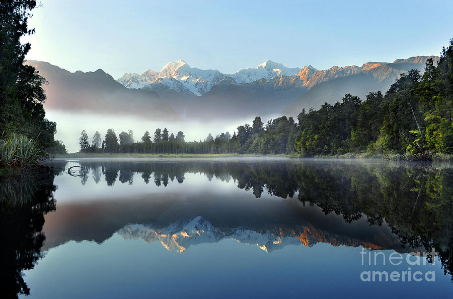 Pond Photograph - Reflection Of Lake Matheson by Supachart
