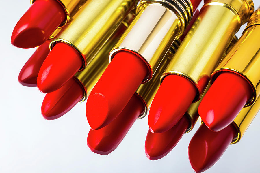 Cosmetics Photograph - Reflection Of Red Lipstick by Garry Gay