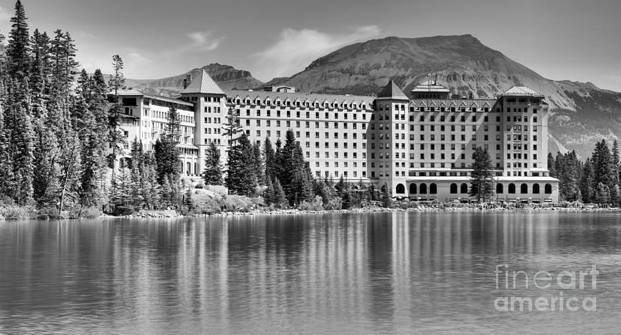 Reflections Of The Chateau Lake Louise Black And White by Adam Jewell