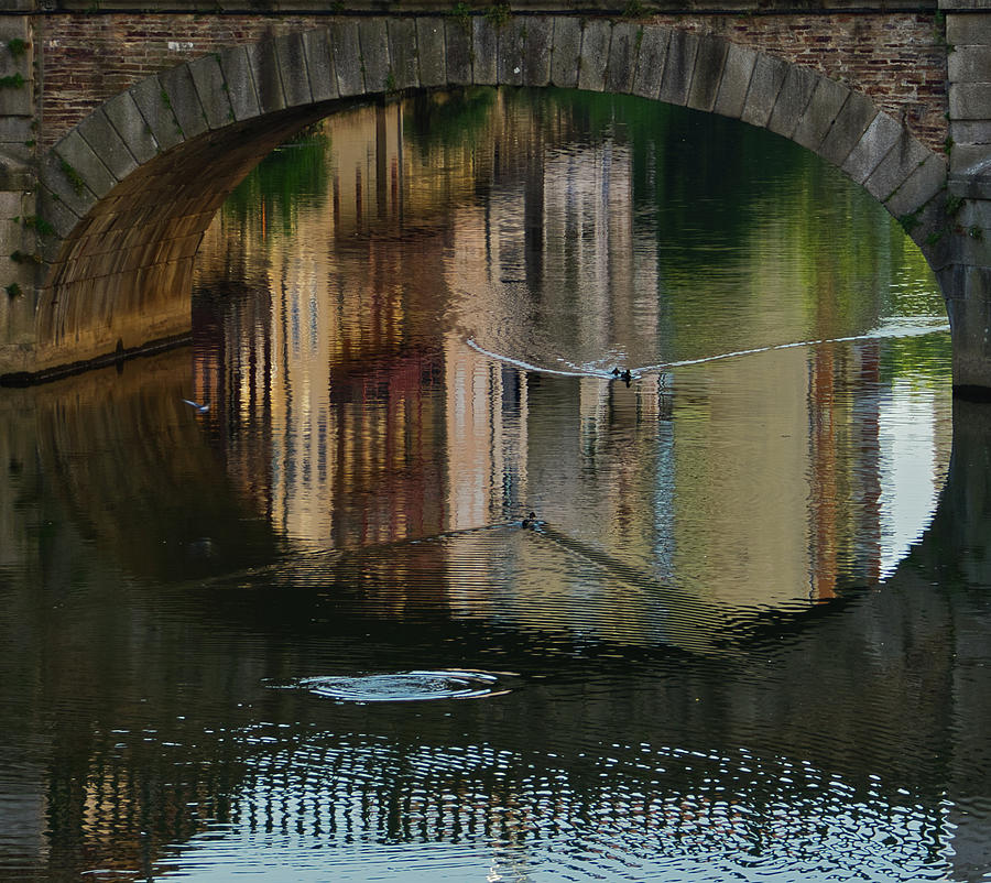 Water Photograph - Reflections under the bridge by Michael Briley