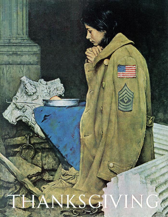 Prayer Drawing - refugee Thanksgiving by Norman Rockwell