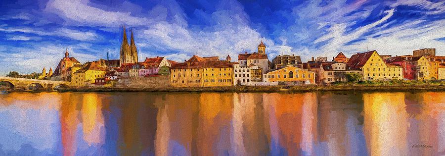 Regensburg on the Danube - Painting by Ericamaxine Price
