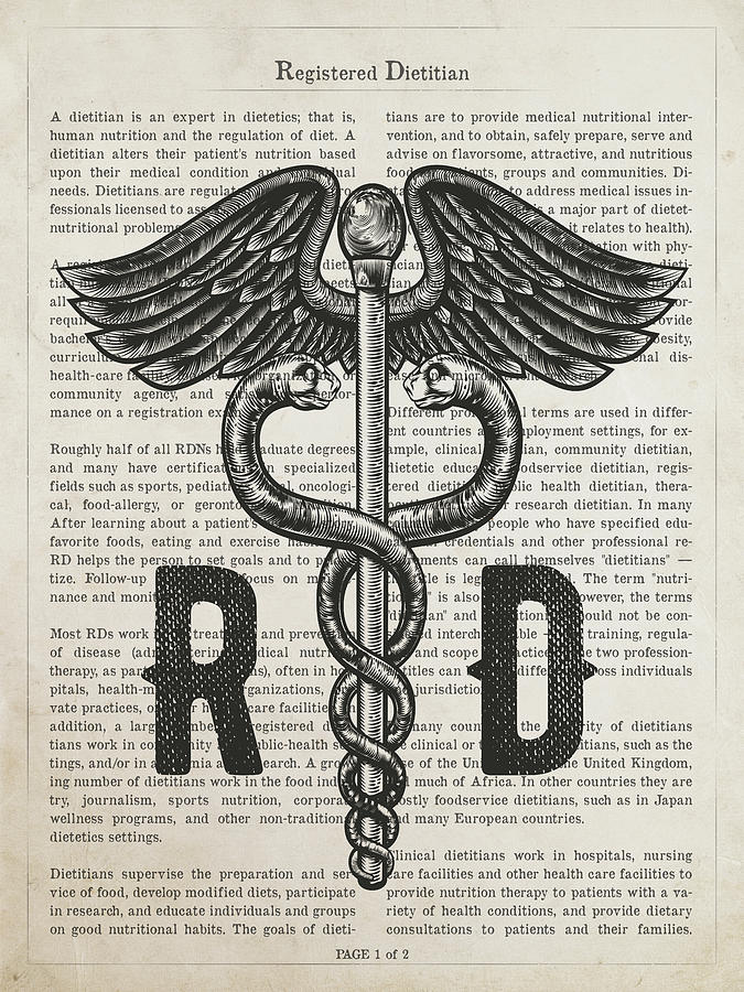 Dietitian Digital Art - Registered Dietitian Gift Idea With Caduceus Illustration 01 by Aged Pixel