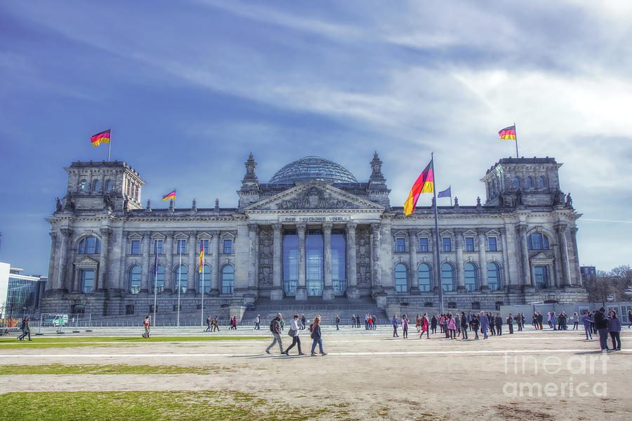 Germany Flag Photograph - Reichstag Building Seat Of The German Parliament by Stefano Senise