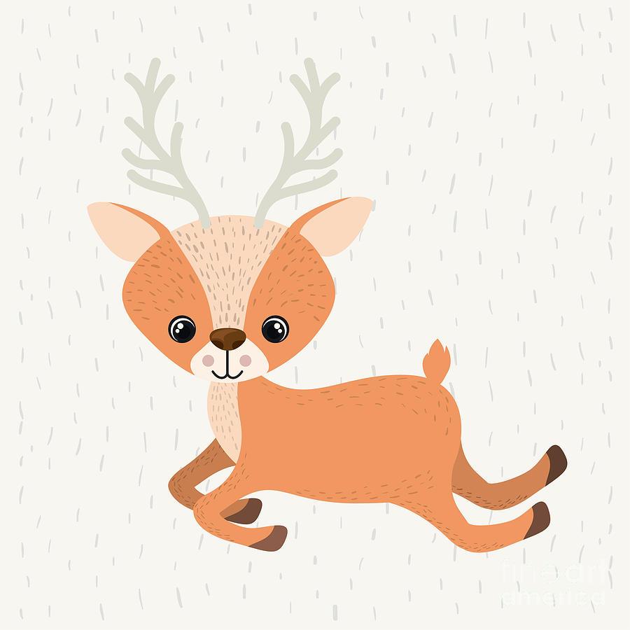 Deer Digital Art - Reindeer Cute Wildlife Icon Vector by Grmarc
