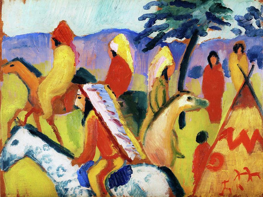 August Macke Painting - Reitende Indianer Beim Zelt - Digital Remastered Edition by August Macke