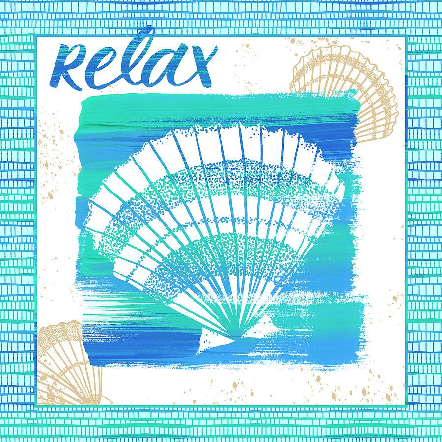 Relax Seashell Coastal Art by Jen Montgomery