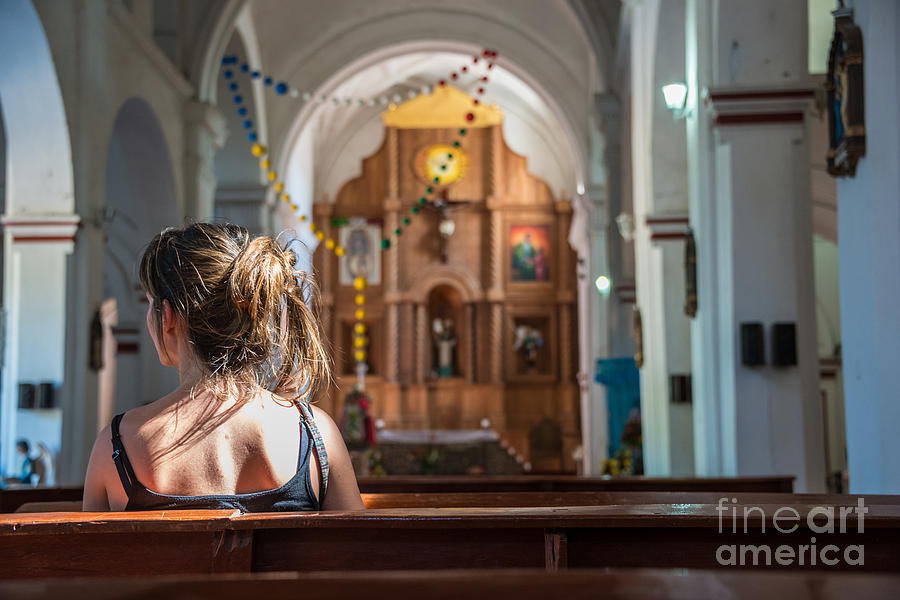 Religious Photograph - Religious Scene Young Female Praying At by Dc aperture