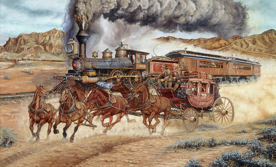 Western Painting - Reluctant For Progress by Les Ray