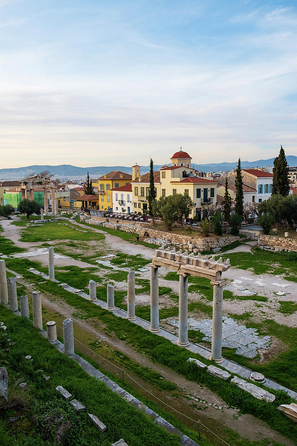 Athens Photograph - Remains Of The Roman Agora And Cityscape Of  Athens, Greece by Iordanis Pallikaras