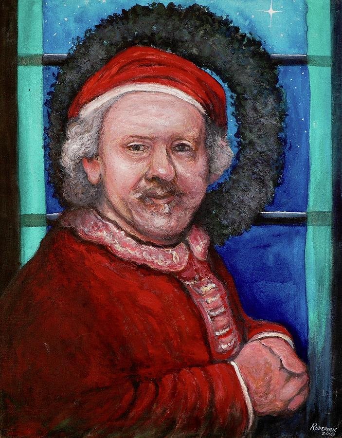 Santa Painting - Rembrandt Santa by Tom Roderick