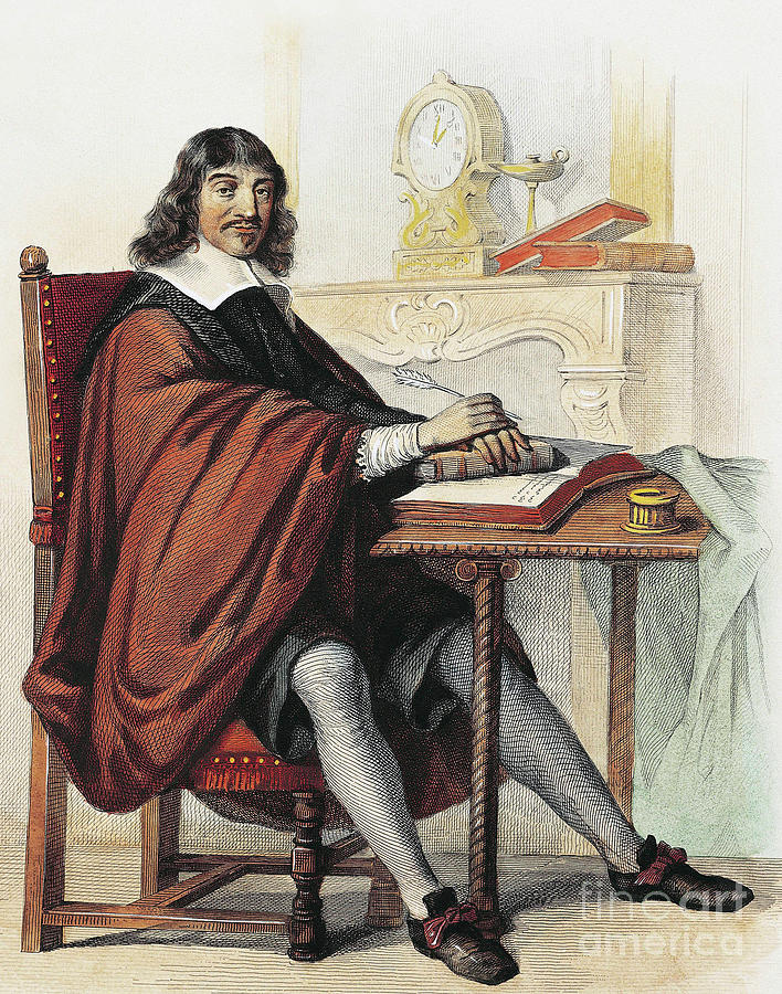 Math Drawing - Rene Descartes 1596-1660 French Mathematician And Philosopher, Engraving by French School