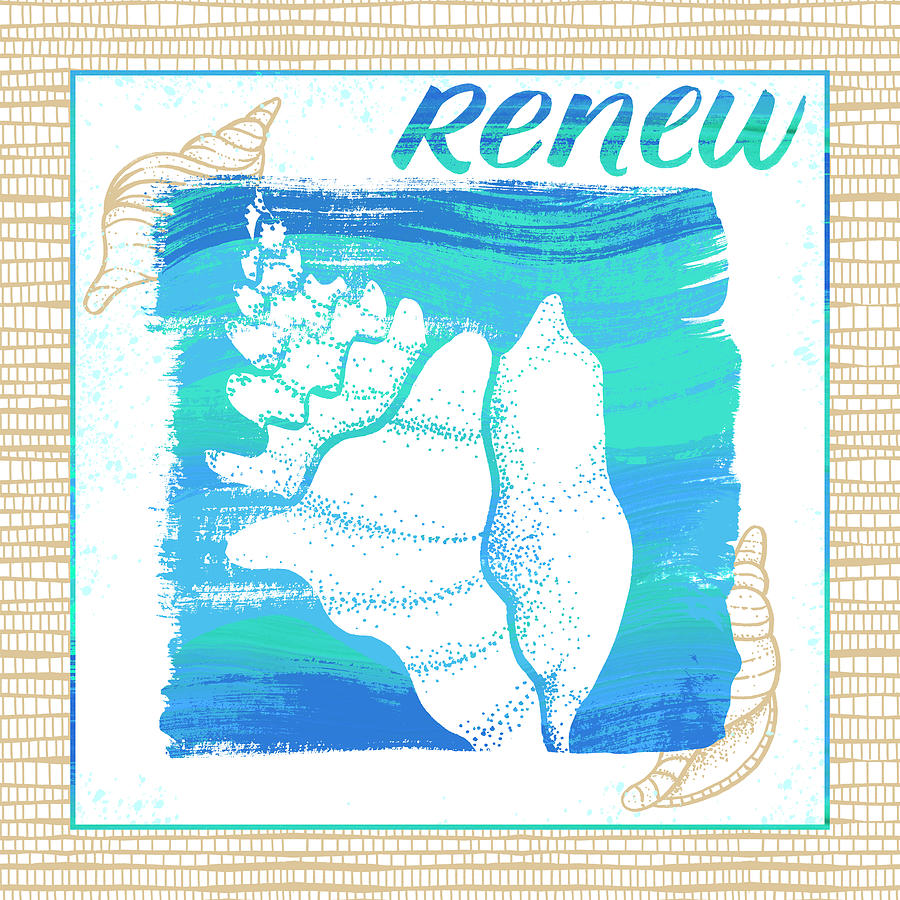 Renew Seashell Coastal Art by Jen Montgomery