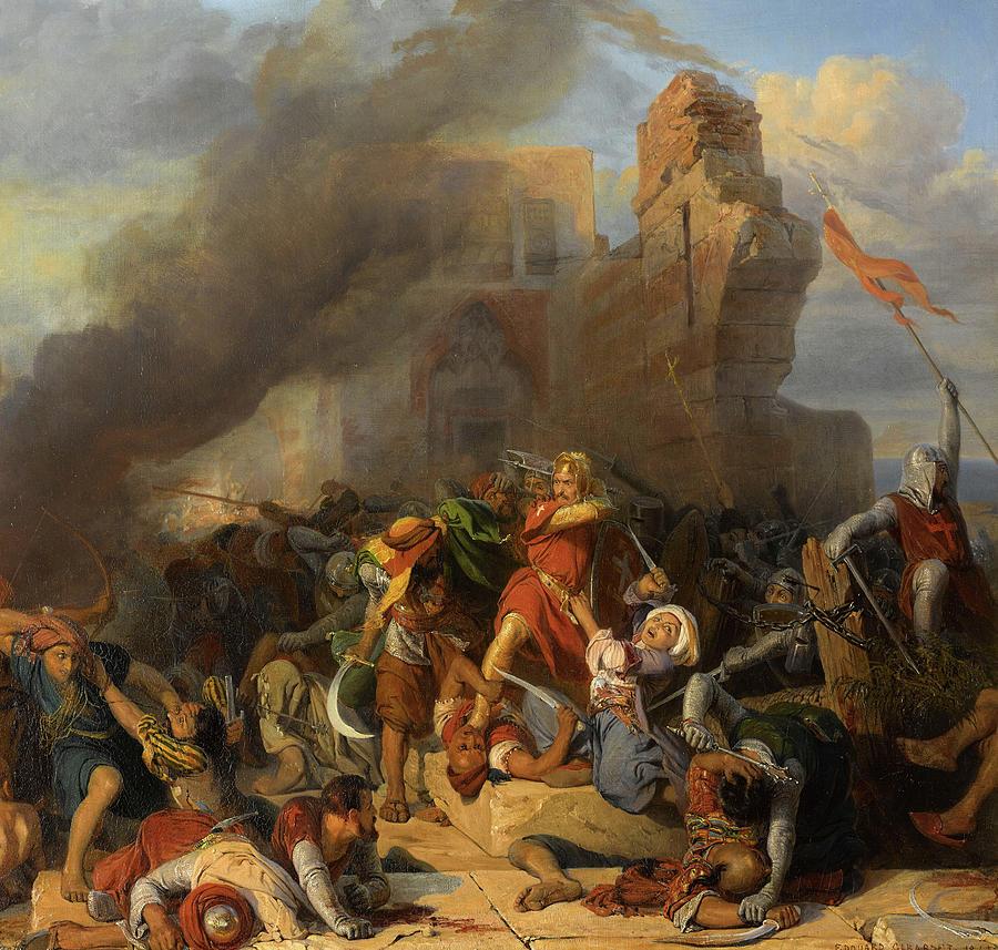 Reprise Du Chateau De Jaffa Occupe Par Saladin Par Le Roi Dangleterre Richard Coeur De Lion 1192