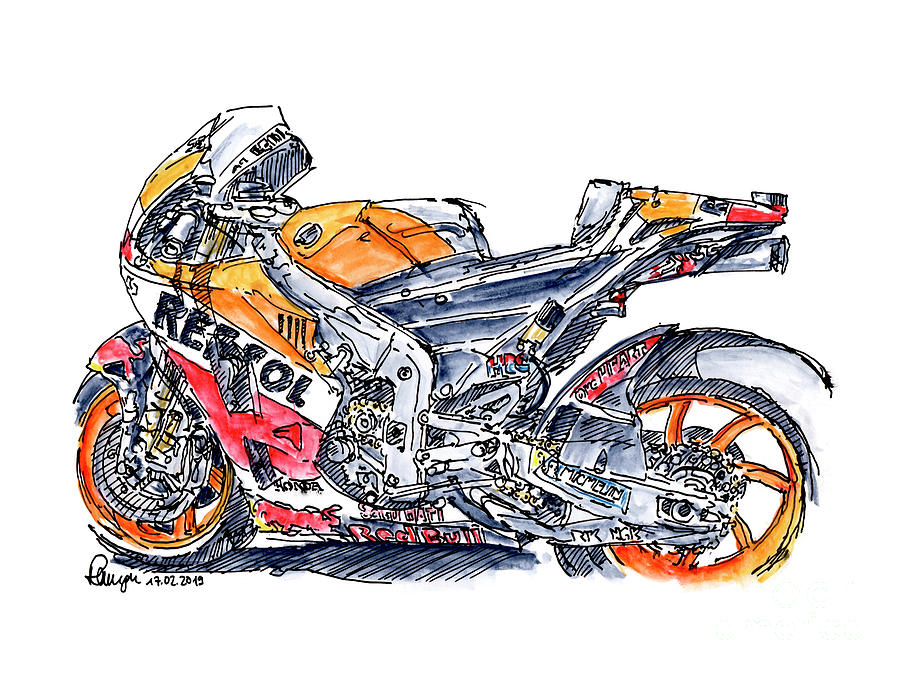 Motorbike Drawing - Repsol Honda RC213V Moto GP 2017 Motorcycle Ink Drawing and Wate by Frank Ramspott