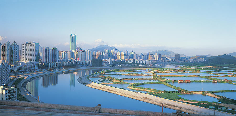 Reservoirs And Shenzhen City Skyline Photograph by Digital Vision.