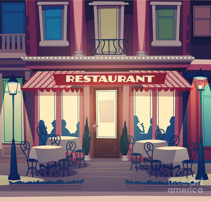 Diner Digital Art - Restaurant Facade. Retro Style Vector by Doremi