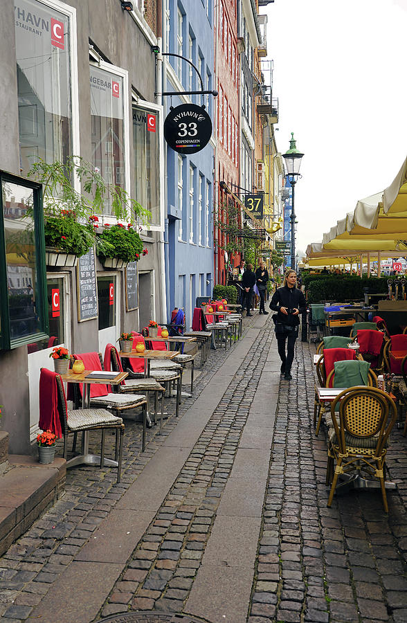 Restaurant Row In The Nyhavn Area of Copenhagen Denmark by Richard Rosenshein