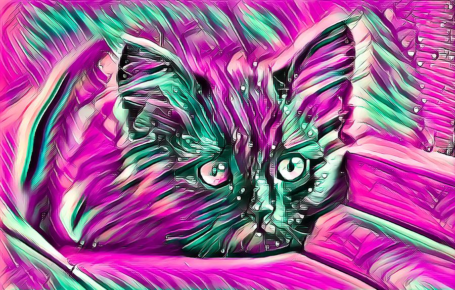 Resting Kitten Abstract Purple by Don Northup
