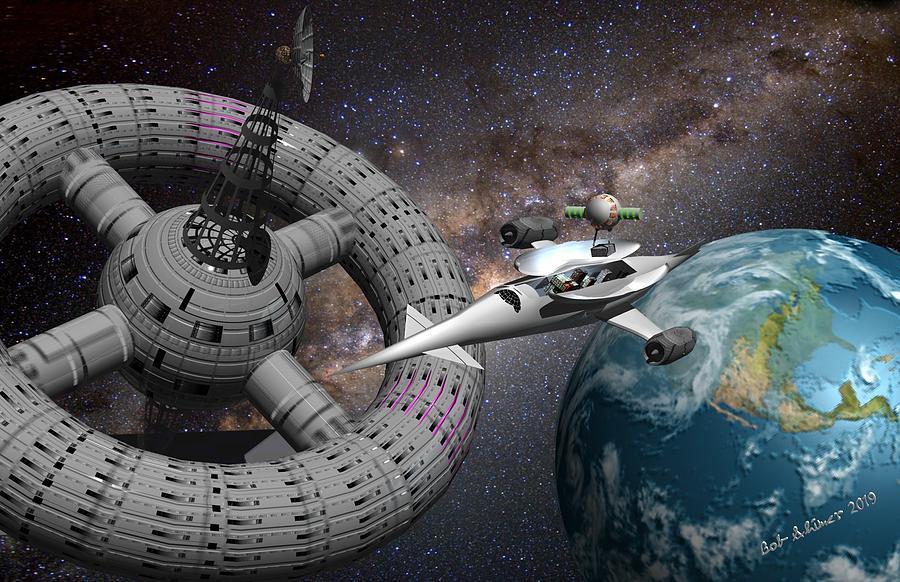 Scifi Digital Art - Resupply Ship by Bob Shimer