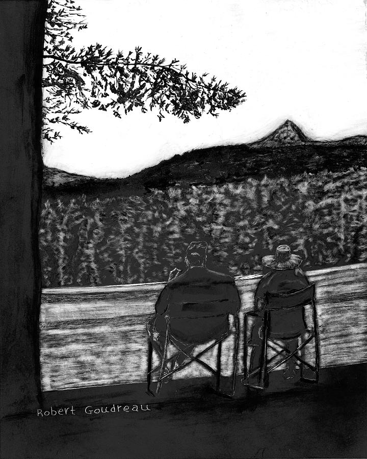 Lake Scene Drawing - Retirement by Robert Goudreau