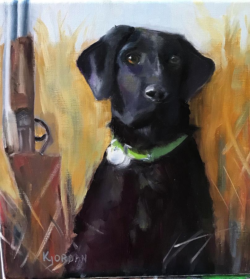 Black Lab Painting - Retriever by Karen Jordan