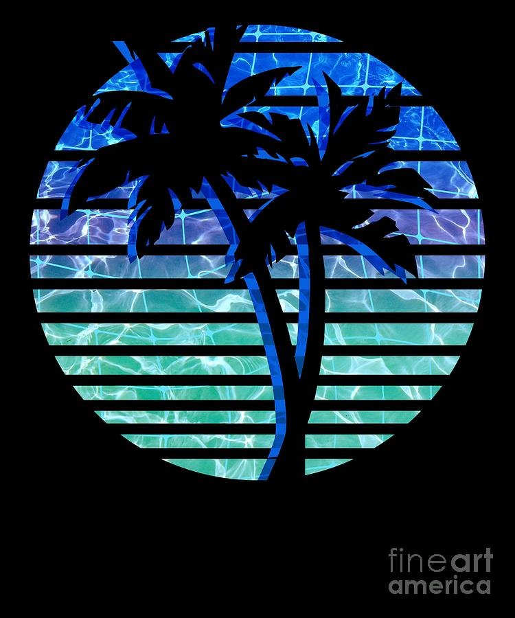 Retro 1980s 1990s Vaporwave Palm Trees Water Grid Background