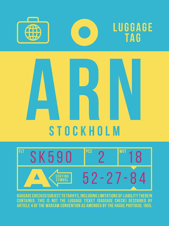 Airline Digital Art - Retro Airline Luggage Tag 2.0 - Arn Stockholm Sweden by Ivan Krpan