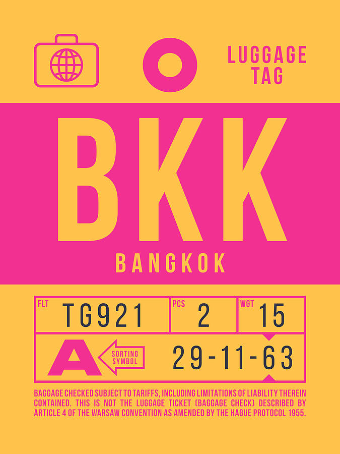 Airline Digital Art - Retro Airline Luggage Tag 2.0 - Bkk Bangkok Thailand by Organic Synthesis