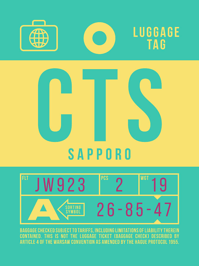 Airline Digital Art - Retro Airline Luggage Tag 2.0 - Cts Sapporo Japan by Ivan Krpan
