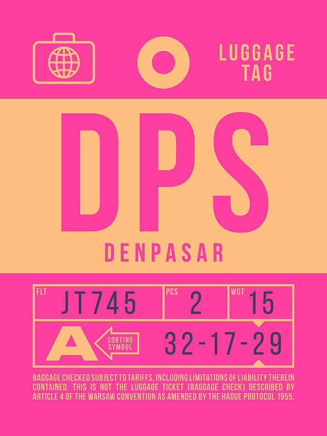 Airline Digital Art - Retro Airline Luggage Tag 2.0 - Dps Denpasar Bali Indonesia by Ivan Krpan