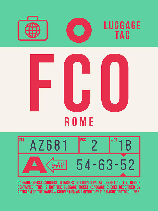 Airline Digital Art - Retro Airline Luggage Tag 2.0 - Fco Rome Italy by Ivan Krpan
