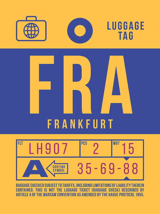 Airline Digital Art - Retro Airline Luggage Tag 2.0 - Fra Frankfurt Germany by Ivan Krpan