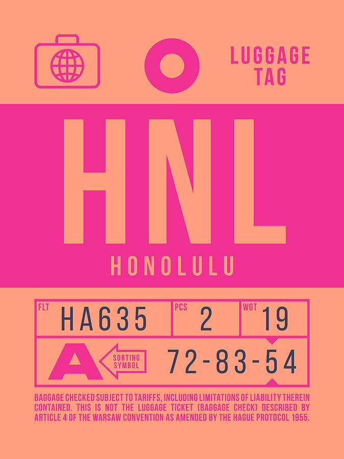 Airline Digital Art - Retro Airline Luggage Tag 2.0 - Hnl Honolulu Hawaii by Ivan Krpan