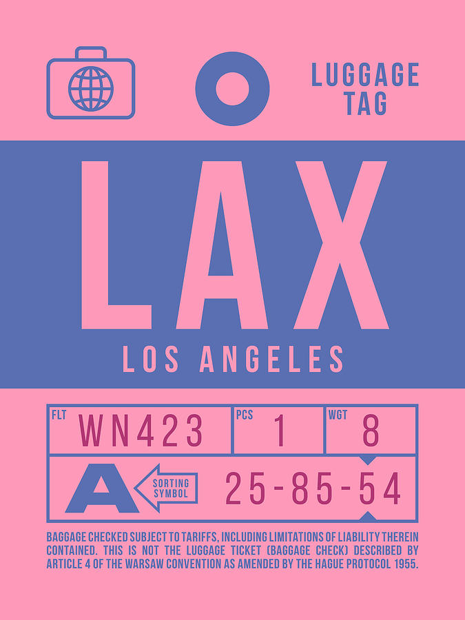 Airline Digital Art - Retro Airline Luggage Tag 2.0 - Lax Los Angeles International Airport United States by Ivan Krpan