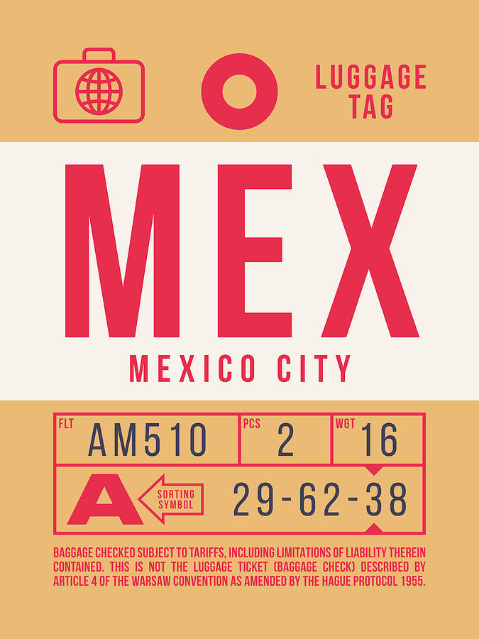 Airline Digital Art - Retro Airline Luggage Tag 2.0 - Mex Mexico City International Airport Mexico by Ivan Krpan