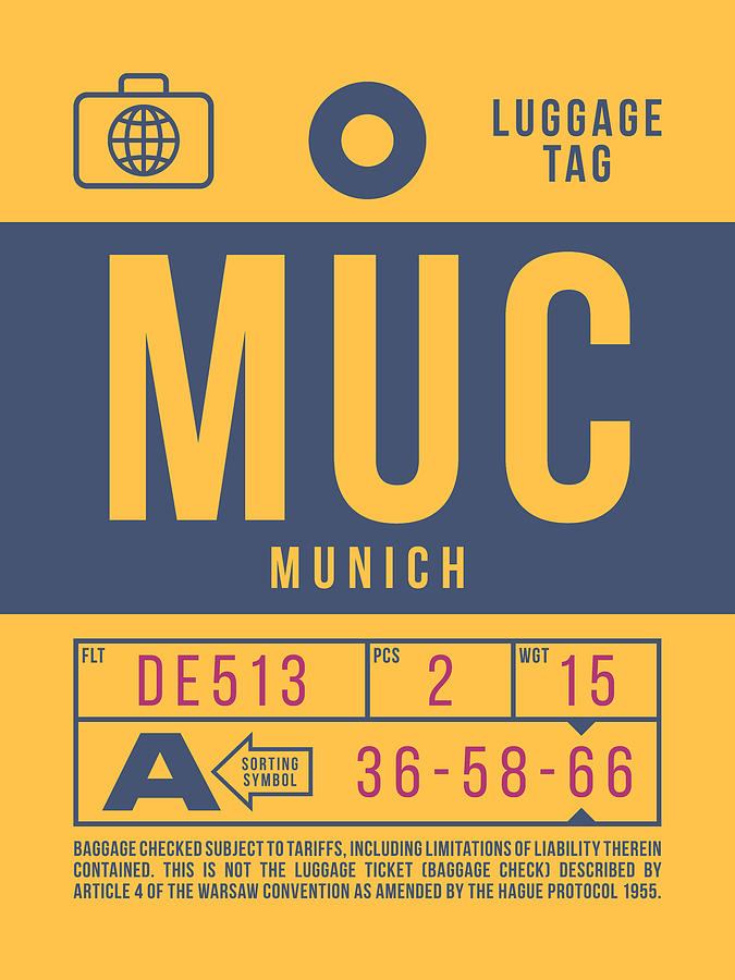 Airline Digital Art - Retro Airline Luggage Tag 2.0 - Muc Munich International Airport Germany by Ivan Krpan