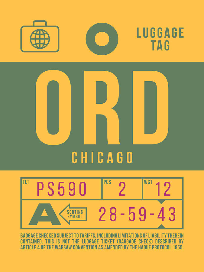 Airline Digital Art - Retro Airline Luggage Tag 2.0 - Ord Chicago Ohare Airport United States by Ivan Krpan