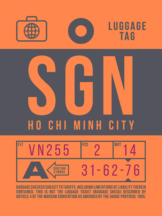 Airline Digital Art - Retro Airline Luggage Tag 2.0 - Sgn Ho Chi Minh City International Airport Vietnam by Ivan Krpan
