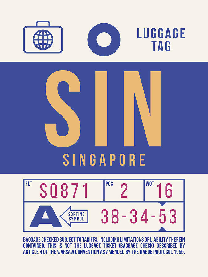 Airline Digital Art - Retro Airline Luggage Tag 2.0 - Sin Singapore Changi Airport by Ivan Krpan