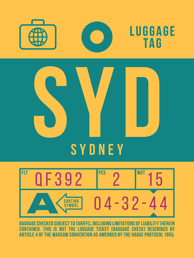 Airline Digital Art - Retro Airline Luggage Tag 2.0 - Syd Sydney Kingsford Smith Airport Australia by Ivan Krpan