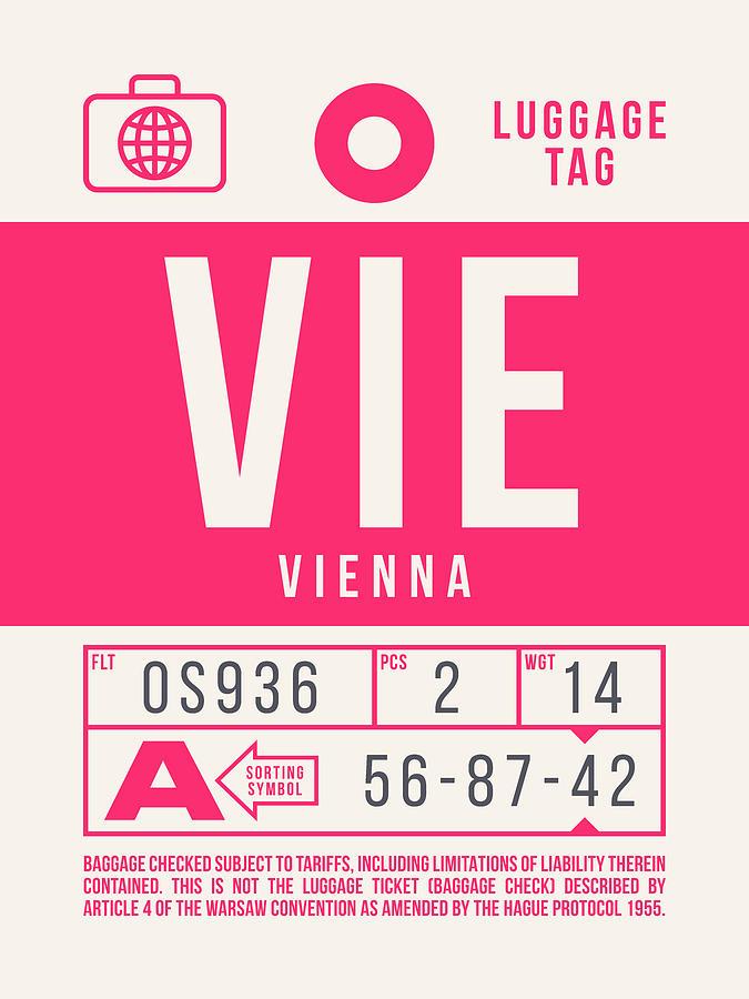 Airline Digital Art - Retro Airline Luggage Tag 2.0 - Vie Vienna International Airport Austria by Ivan Krpan