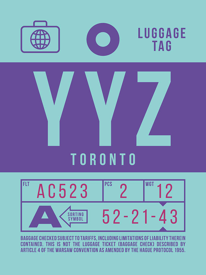 Airline Digital Art - Retro Airline Luggage Tag 2.0 - Yyz Toronto International Airport Canada by Ivan Krpan