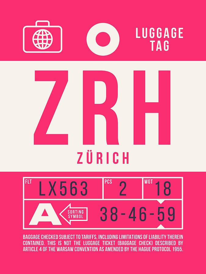 Airline Digital Art - Retro Airline Luggage Tag 2.0 - Zrh Zurich International Airport Switzerland by Ivan Krpan