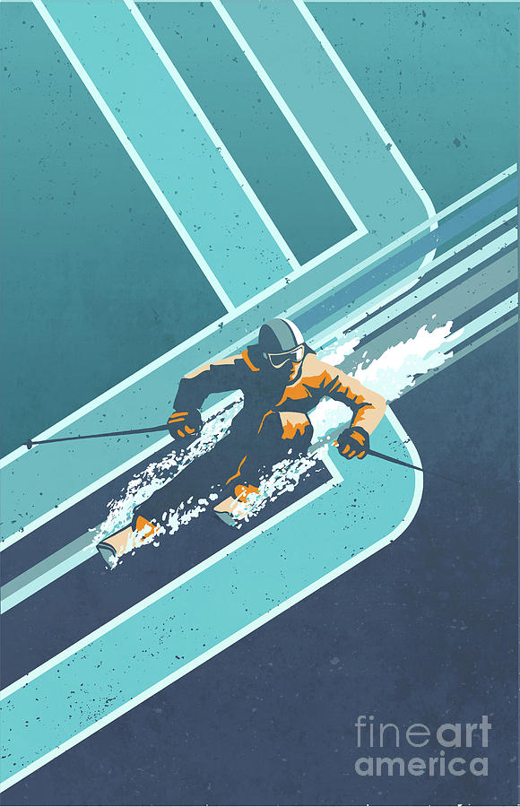 retro alpine ski poster by Sassan Filsoof