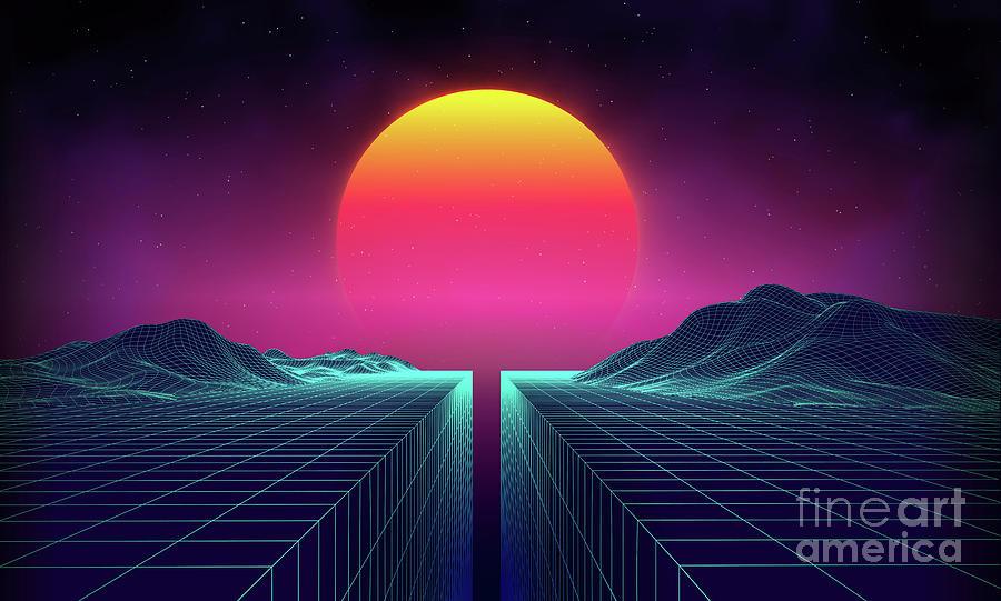 Retro Background Futuristic Landscape Digital Art by Damiengeso