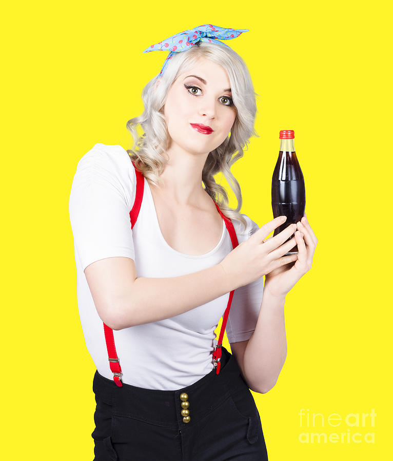 Restaurant Photograph - Retro Blond Woman With A Bottle Of Soda by Jorgo Photography - Wall Art Gallery
