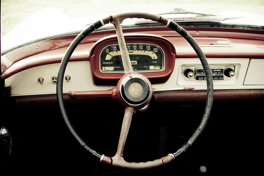 Retro Car Driving Wheel Photograph by Malhrovitz