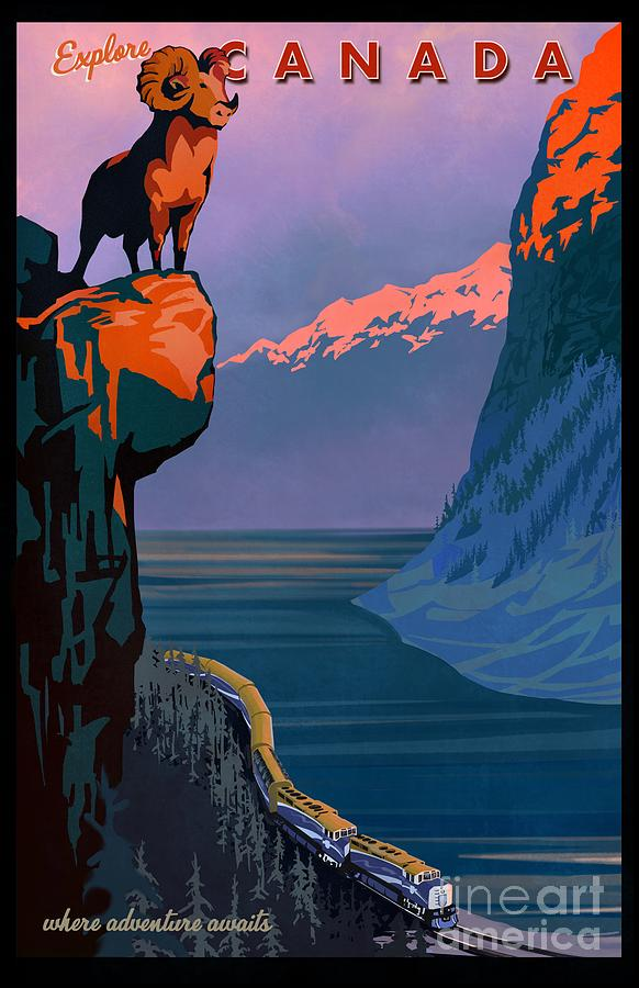 Retro Explore Canada train travel poster by Sassan Filsoof