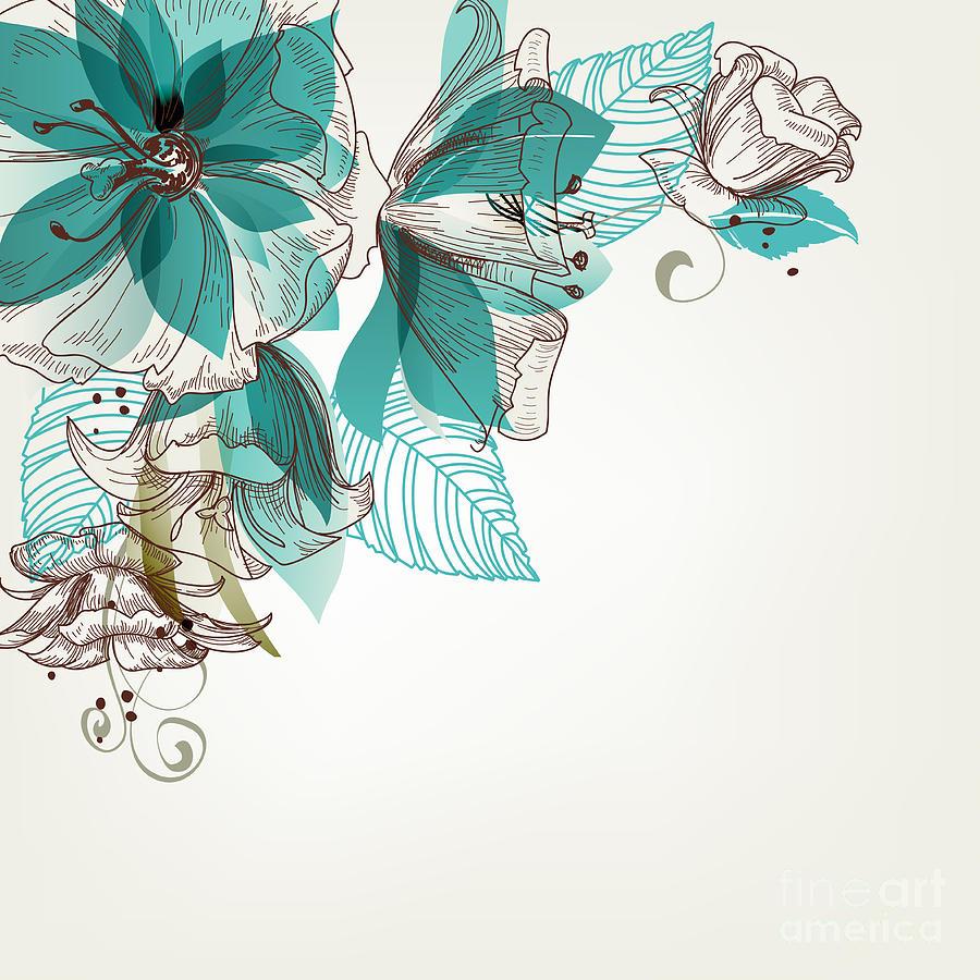 Gift Digital Art - Retro Flowers Vector Illustration by Danussa